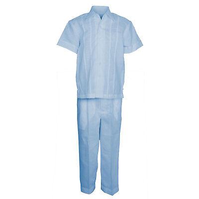 (Boys Blue 100% Linen Set Guayabera Pleat Embroidered Shirt & Pant Size 4 to 18)