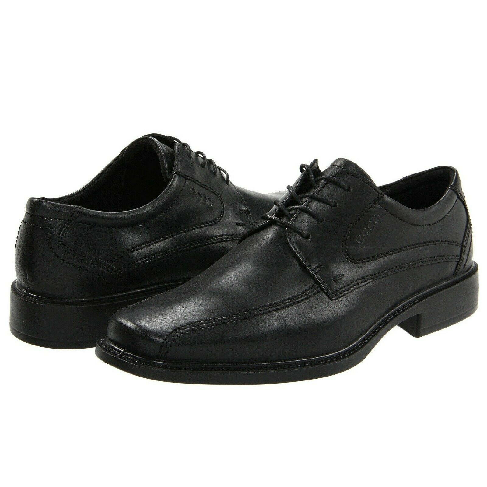 Ecco Men's New Jersey Bike Toe Lace Oxford Leather Dress Comfort Shoe Black