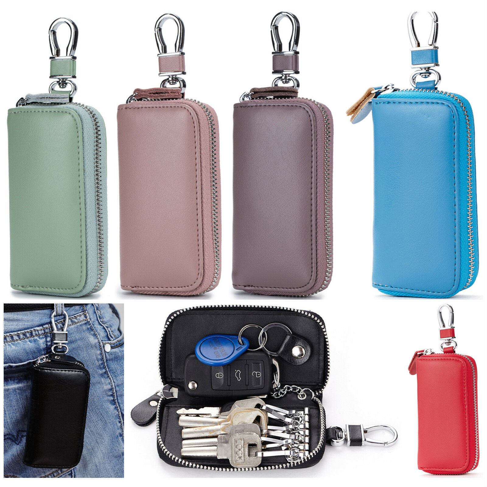 Universal Leather Car Key Zipper Case Pouch with Key Ring and Credit Card Slots Clothing, Shoes & Accessories