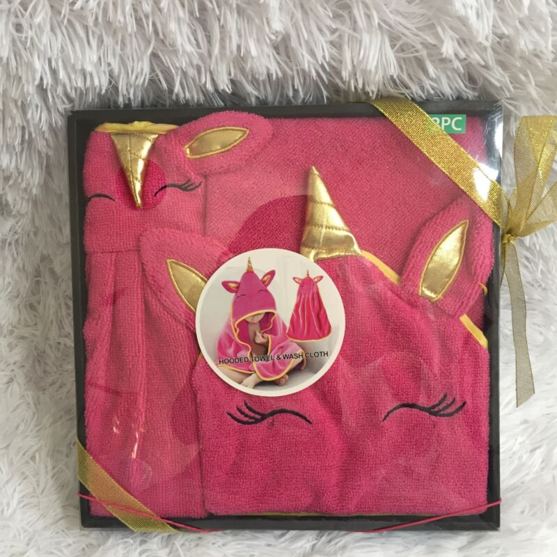 Pink Unicorn Baby Animal Hooded Towel And Wash Cloth Set Brand New