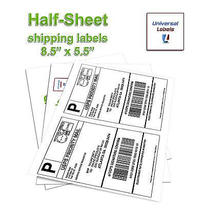 1000 Paypal Click-n-ship Shipping Labels 8.5x 5.5 2 Labels Per Sheet - Usa