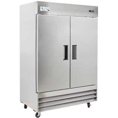 54 Stainless Steel Commercial Restaurant Solid 2-door Reach-in Freezer