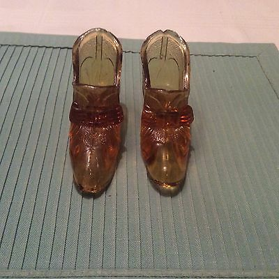 2 Vintage Amber Glass Shoes