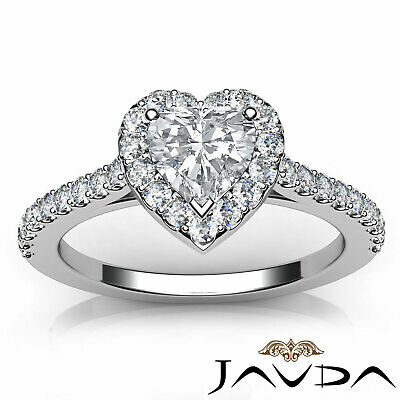 Halo French Pave Set Heart Cut Diamond Engagement Ring GIA Certified G VS2 1 Ct 10