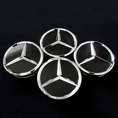 Nabendeckel für Mercedes Benz SCHWARZ GLANZ Fahrzeuge 60mm Satz (4Stück Kappen)