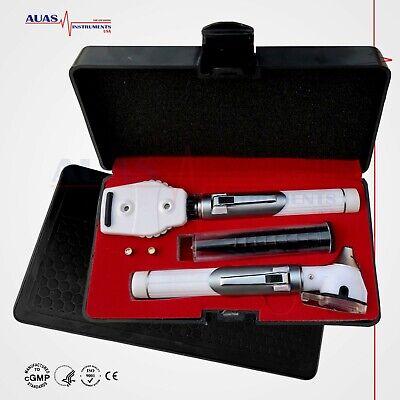Fiber Optic Mini Otoscope Ophthalmoscope Exam Led Diagnostic Ent Set White