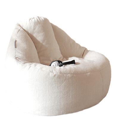 Deluxe Cream Plush Lounger Chair FUR BEANBAG Cover - Machine Washable Bean (Deluxe Bean Bag Chair)