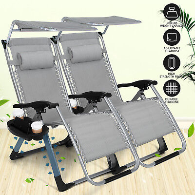 Canopy Square Frame 2PCS Zero Gravity Folding Lounge Beach Chairs W/Cup Holder