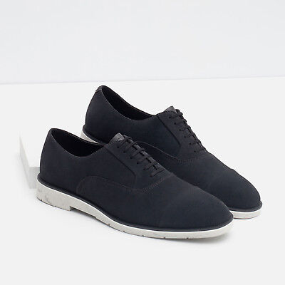 (NWTS ZARA MAN Navy Blue White Leather Lace Up Oxford Casual Dress  Shoes 40 7)