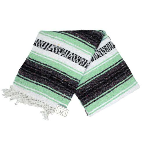 Mexican Blanket Mint Yoga Blanket Serape Throw Boho Falsa Blanket XL Mexico