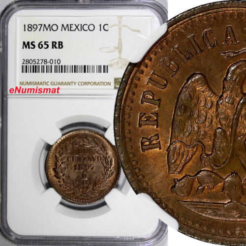 MEXICO SECOND REPUBLIC Copper 1897 Mo 1 Centavo NGC MS65 RB Last Date KM# 391.6