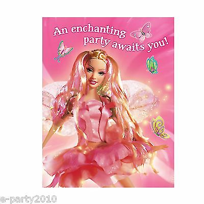 - BARBIE FAIRYTOPIA INVITATIONS (8) ~ Pink Birthday Party Supplies Invites Cards