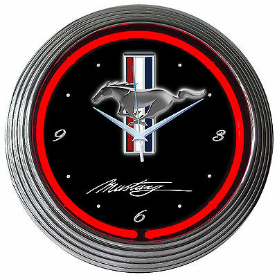 GT Mustang Red Neon Clock sign Muscle car Ford Stallion garage wall lamp OLP
