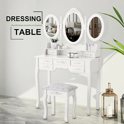 Modern Vanity Wood Desk Makeup Dressing Table Set w/Stool,Mirror & JewelryDrawer
