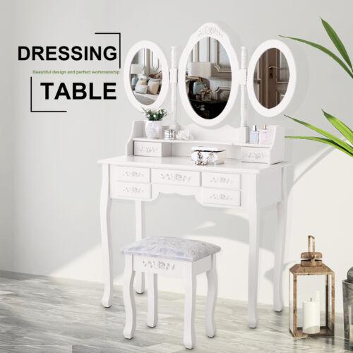Modern Vanity Wood Desk Makeup Dressing Table Set w/Stool,Mi