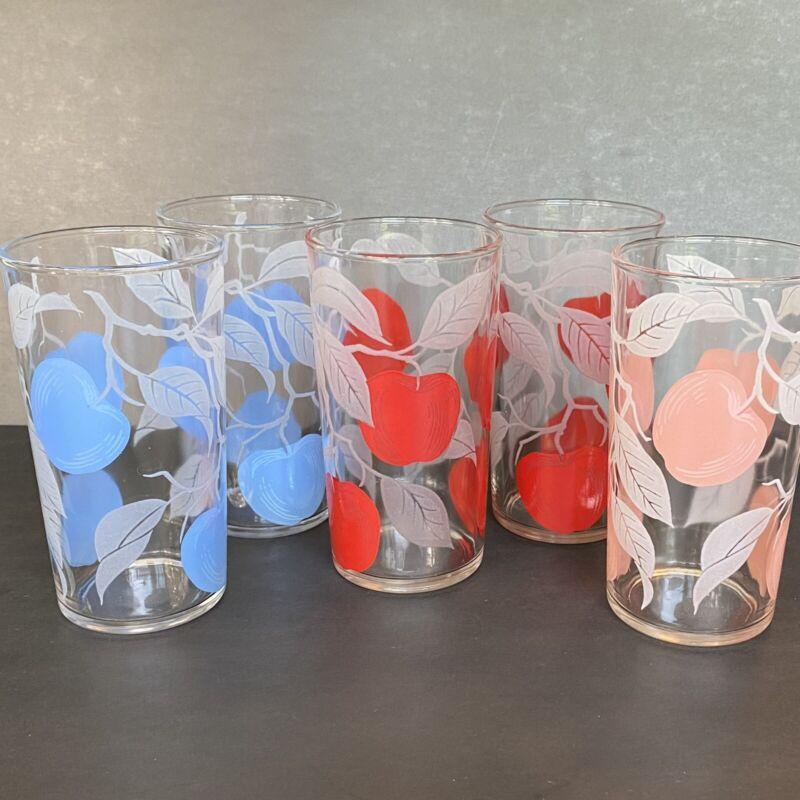 """5 VTG Mid Century Highball Drinking Glasses 5"""" Blue Red Pink Fruit Leaves"""