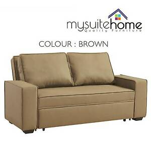 Neo 2 Seater Sofa Bed PU Leather Couch Charcoal, Brown or Grey Melbourne CBD Melbourne City Preview