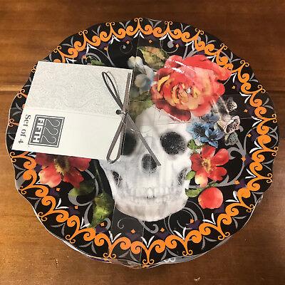 4 New 222 Fifth Marbella Skull Appetizer Plate China Sugar Skull - Sugar Skull Plates