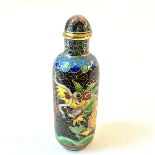CHINESE CLOISONNE SNUFF BOTTLE 5 TOED IMPERIAL DRAGON YELLOW FLAMING RED PEARL