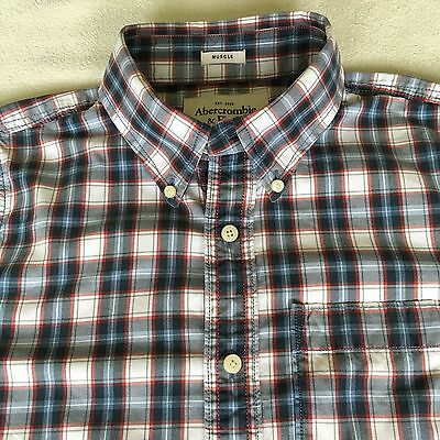 Abercrombie & Fitch Plaid Muscle Button Front Long Sleeve Shirt Mens Size L