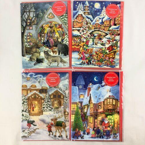 Vintage Vermont Christmas Co Advent Calendar Cards Lot of 4