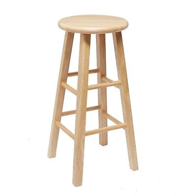 (Wooden Bar Stool 24 Inches Fully Assembled Natural Wood Finish Mainstays New Oak)