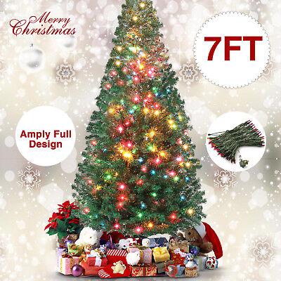 7FT Christmas Tree Artificial Pine Xmas Tree 998Tip W/Multi-Color 300 LED Lights