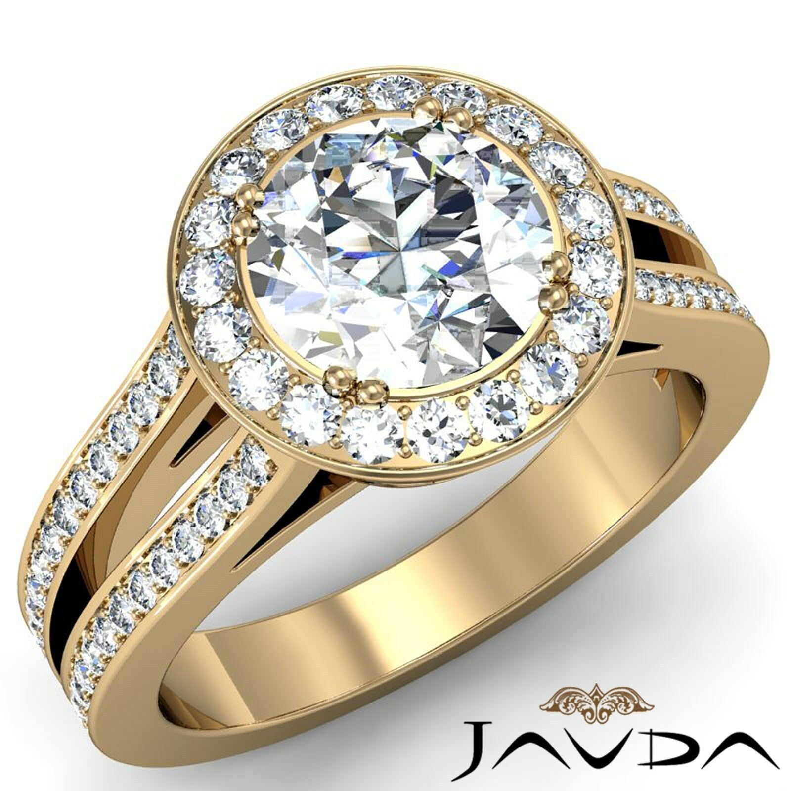 Halo Split Shank Double Prong Round Cut Diamond Engagement Ring GIA H VS1 2.35Ct