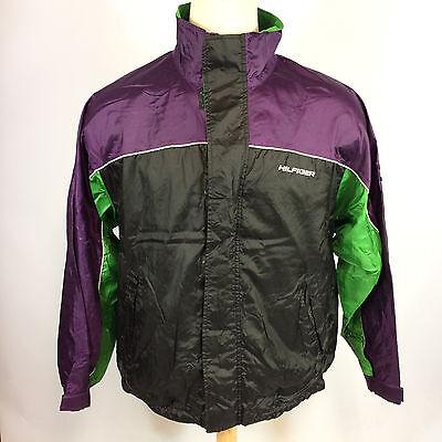 Rare Vintage 90s Grunge Color Block Tommy Hilfiger Flag Windbreaker Coat Jacket
