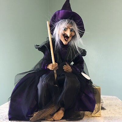 Witch on Broomstick Halloween Hanging Prop Decor Animated Features Not Working - Working On Halloween