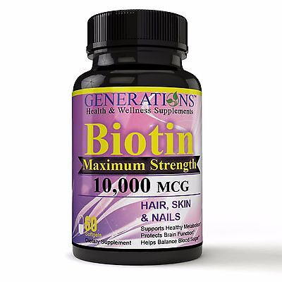 (Biotin 10,000 MCG **Maximum Strength** Supports Cellular Energy, Boost Stamina)