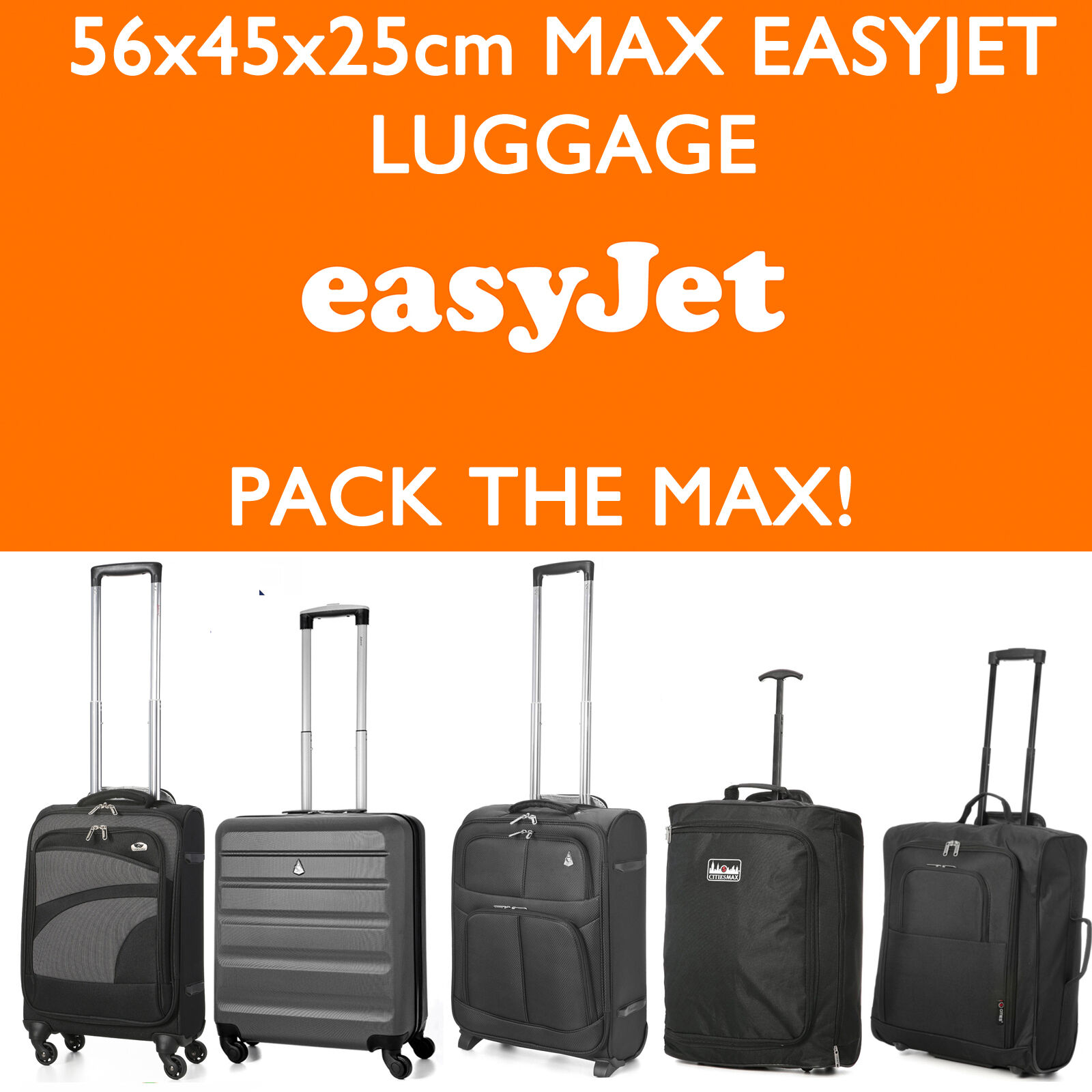 Easyjet 56x45x25cm Maximum Allowance Size Carry On Hand Cabin Luggage Trolley Bags Suitcases