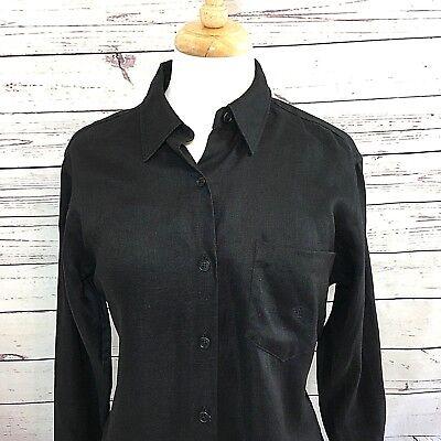 Lauren Ralph Lauren Classic Button Up Blouse Linen L/S Black Shirt 12 Petite