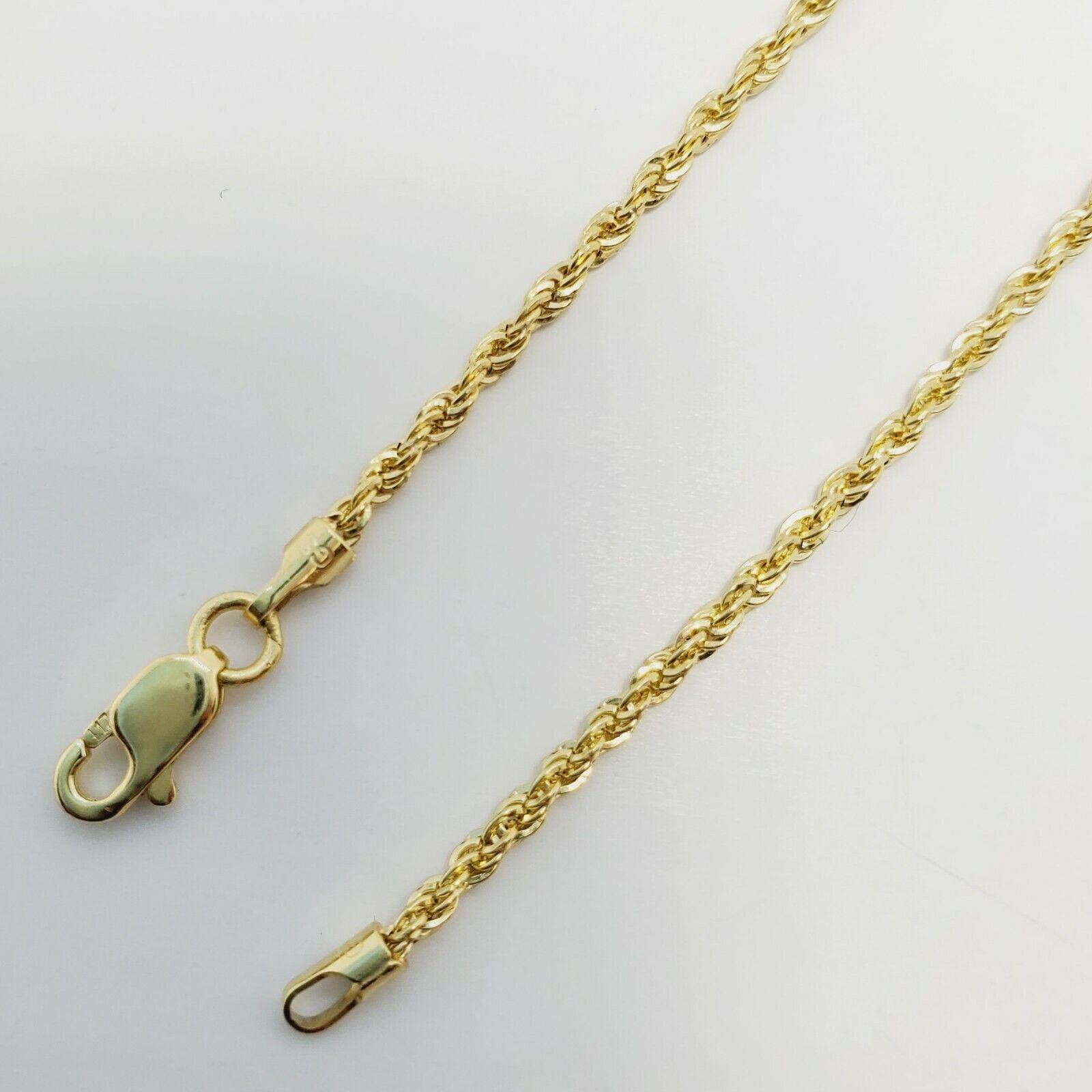 "10K Yellow Gold 1.5mm Diamond Cut Rope Chain Pendant Necklace Mens Women 16""-26"" 4"