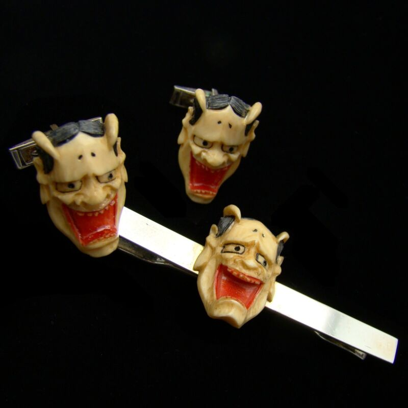 Signed Tie Bar Cufflinks Set Painted Japan Hannya Mask Noh Demon 950 Silver VTG