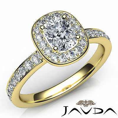 Halo Pave Setting Cushion Cut Diamond Engagement Cathedral Ring GIA F VS1 0.87Ct