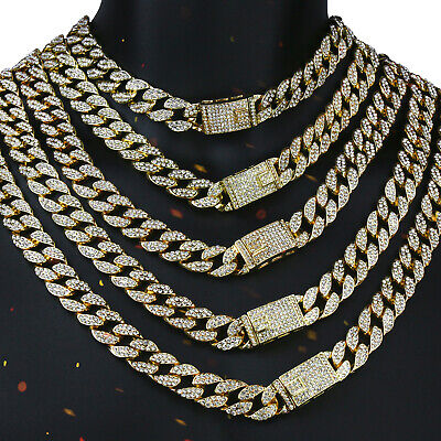 Miami Curb Cuban Chain 14k Gold PT Fully Cz Choker Necklace