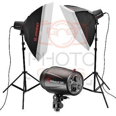 Flash Studio Lighting Kit - 400w (2x200w) JINBEI Softbox Photography Strobe Set