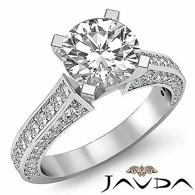 Classic 4 Prong Setting Round Cut Diamond Engagement Wedding Ring GIA F SI1 2Ct