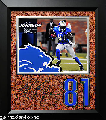 Calvin Johnson Lions #81 Laser Auto Signature Cut on a Football mat Framed - Lions Football Mat