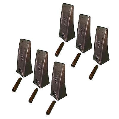 6- Skid Steer Mini-ex Backhoe Bucket Long Dirt Teeth W Roll Pins- X156l P156