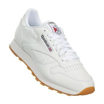 Reebok Classic Leather CL 49797 White Red Gum Casual Mens Shoes Sneakers Sizes Leather Adult Casual Shoes