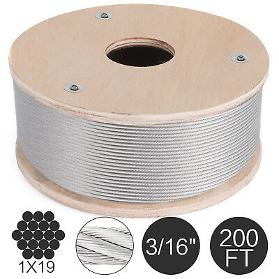316 Stainless Steel Cable Railing Wire Rope 1x19 Type 316 200 Feet