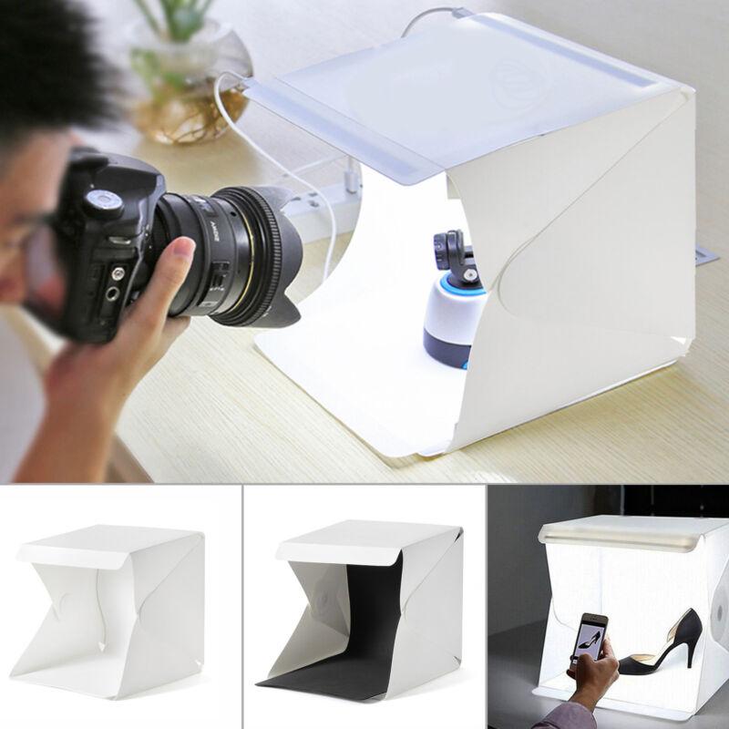 Fotostudio Fotobox Fotozelt Lichtzelt Faltbare LED + 2 Hintergründe + Stativ