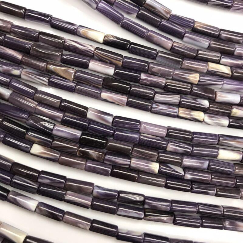 "15.5"" - Natural Purple Wampum Quahog Shell 8-9mm Tube Beads HQ, NEW DIY Special"