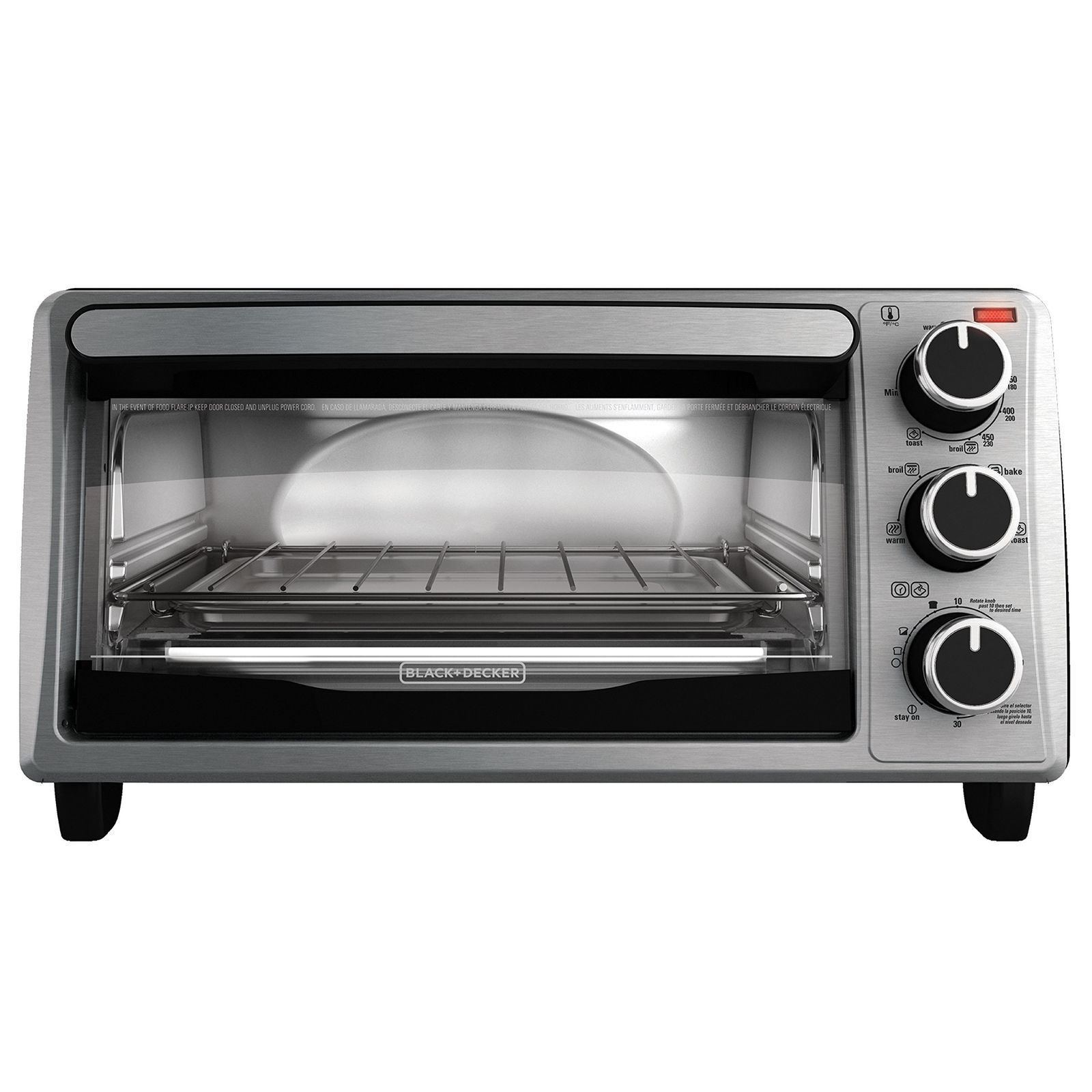 BLACK+DECKER 4-Slice Toaster Oven, Stainless Steel, TO1303SB