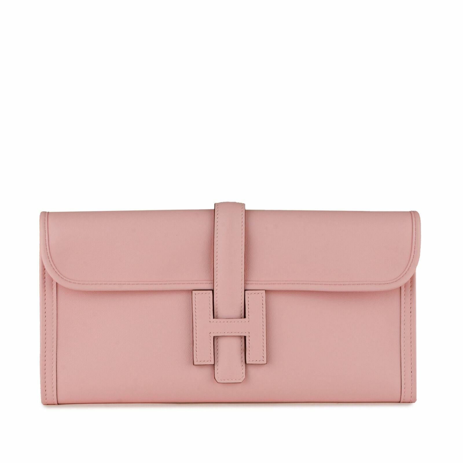 NEW 2019 Rare ROSE SAKURA Color HERMES Swift Jige Elan 29 Clutch Bag