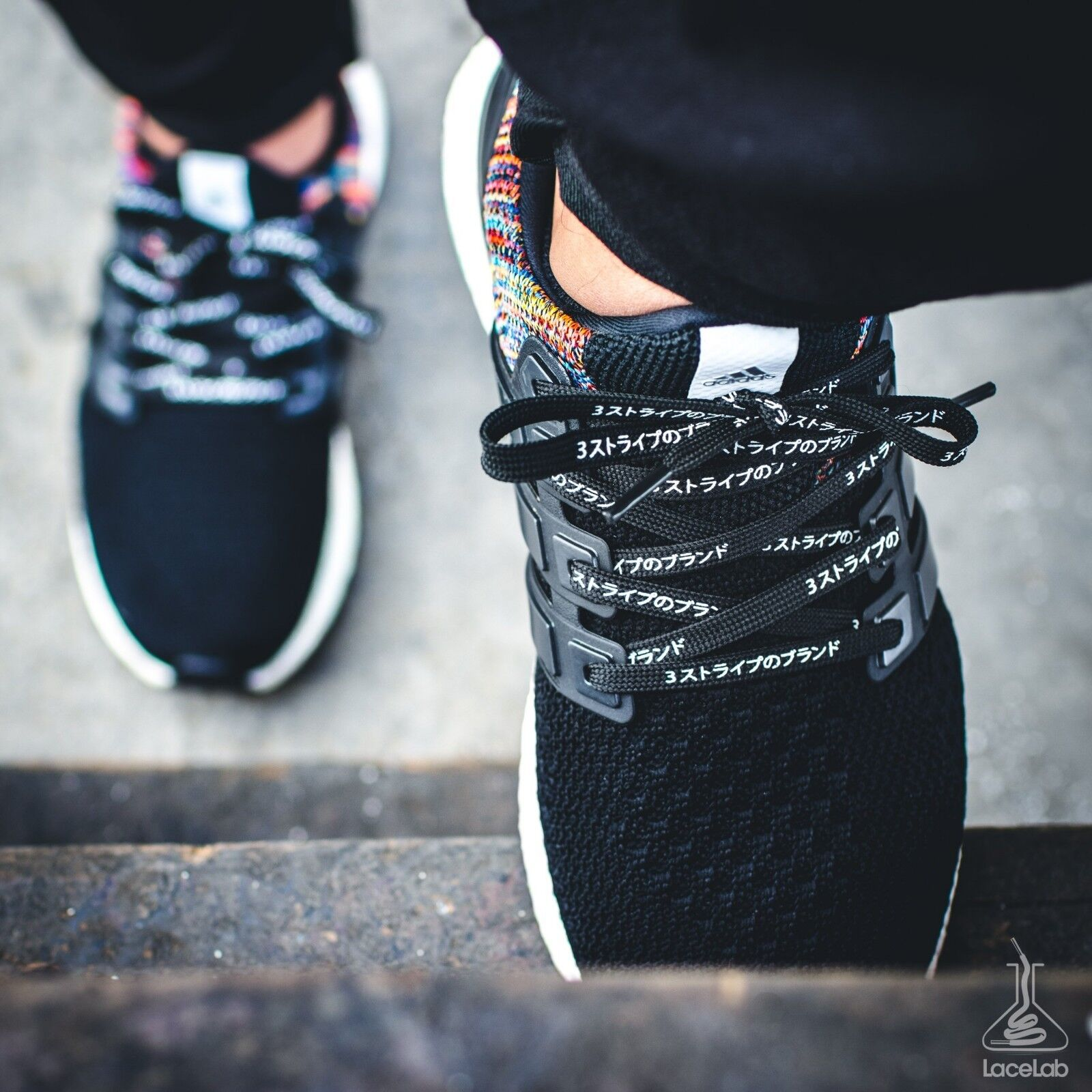 "NMD Shoelaces Ultra Boost Laces ""3 Stripes"" Katakana Flat Black 30″ LACE ENVY Clothing & Shoe Care"