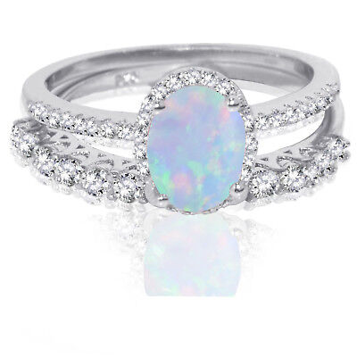 Oval Moonstone Fire Opal Wedding Engagement CZ Fashion Sterling Silver Ring Set