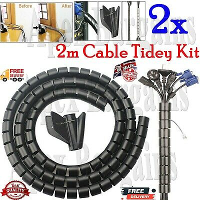 2pcs 2 Metro PC TV Organizador Cables Kit Envoltura Herramienta Espiral Oficina
